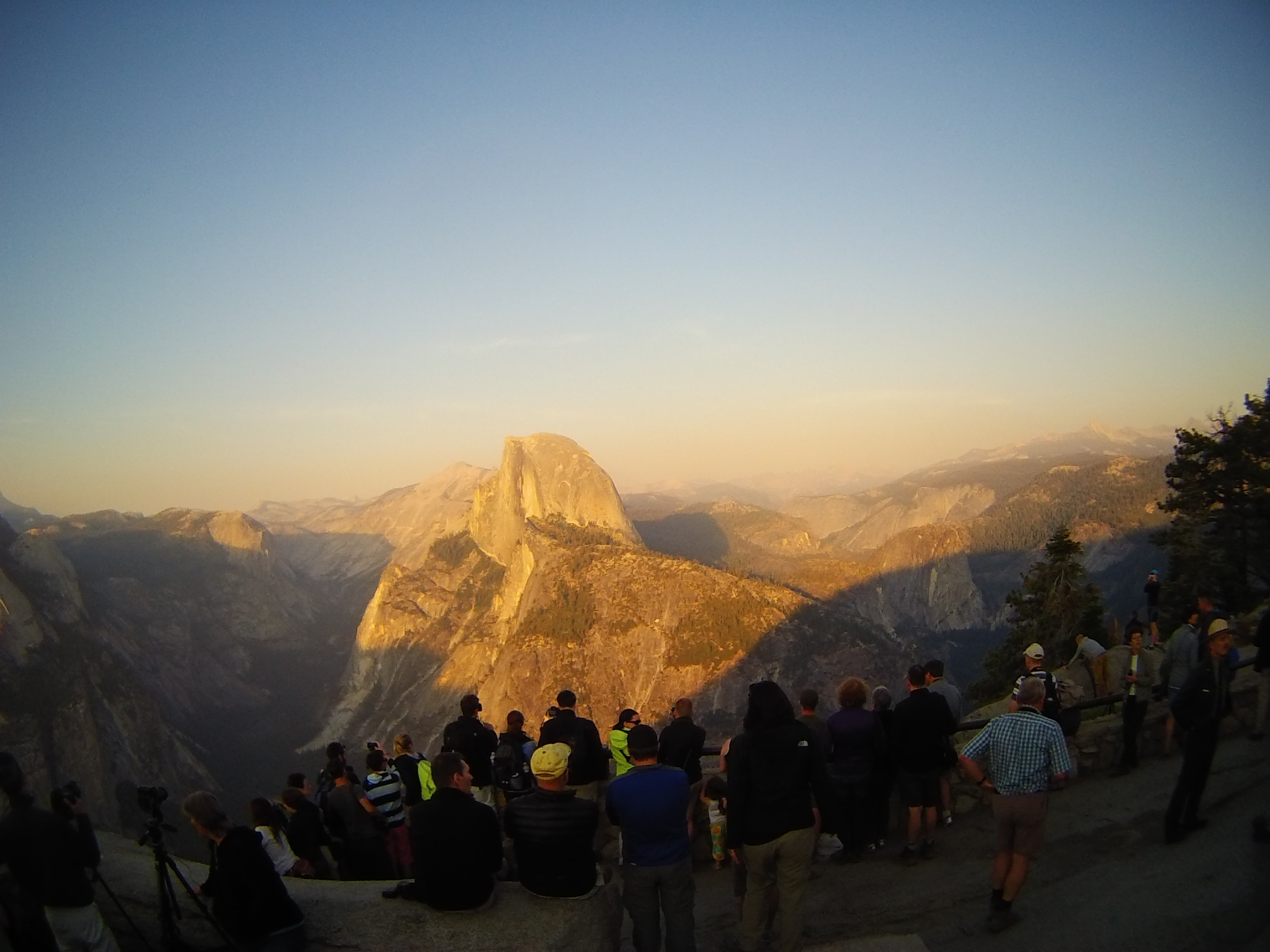 yellow light on Half Dome